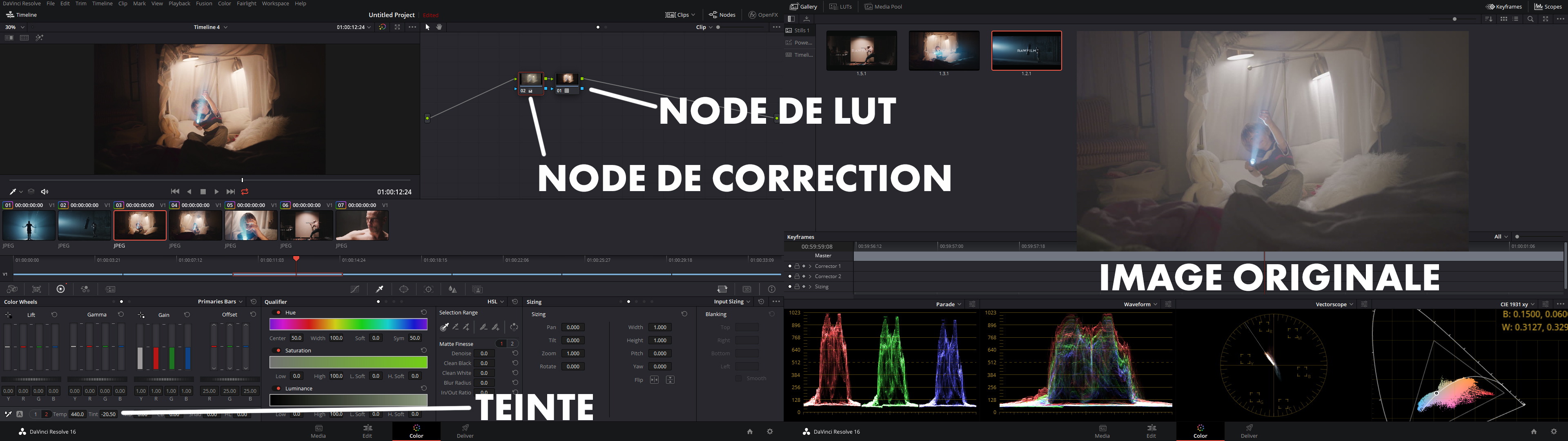 LUT Stranger Things - DaVinci Resolve Interface
